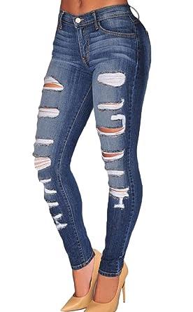 Nicetage Damen High Waist Röhrenjeans Stretch Skinny Jeans