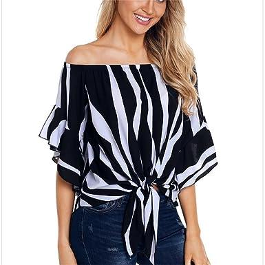 2022e95e8389c7 MAZORT Women s Striped Tube Top Trumpet Sleeve Knotted Plus Size T-Shirt  Black S