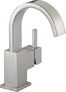 Delta Faucet Vero Single-Handle Bathroom Faucet with Metal Drain Assembly, Stainless 553LF-SS