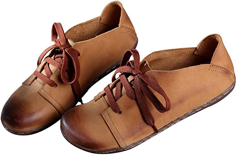 Zoulee Womens Round Toe New Leather Lace Up Flat Shoes