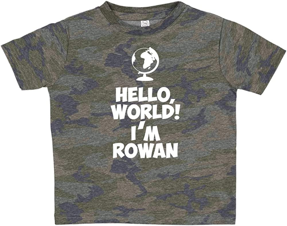 Mashed Clothing Hello Personalized Name Toddler//Kids Short Sleeve T-Shirt Im Rowan World