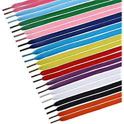 Tinksky 12 Pairs Flat Shoelaces Shoe Laces Strings for Sports Shoes Boots Sneakers Skates (Assorted Colors)