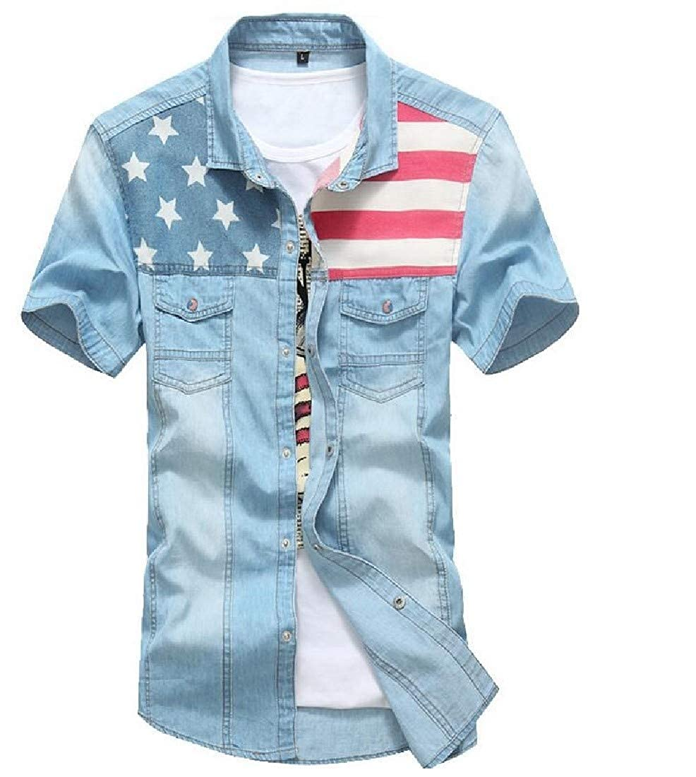pipigo Mens Short Sleeve Summer Washed American Flag Button Up Shirts