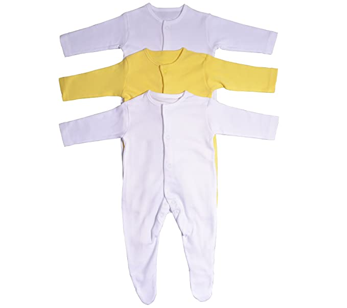 a368effe3 The Essentials Wardrobe Baby Sleepsuits Babygrow 3 Pack Long Sleeve ...