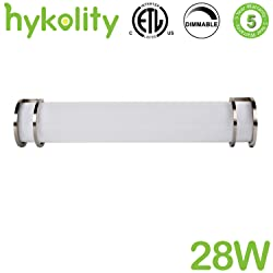Hykolity 36 Inch Integrated LED Bathroom Vanity Lighting Fixture Brush Nickel 28w Dimmable (equal to three 60-watt Incandescent bulbs) ETL Listed