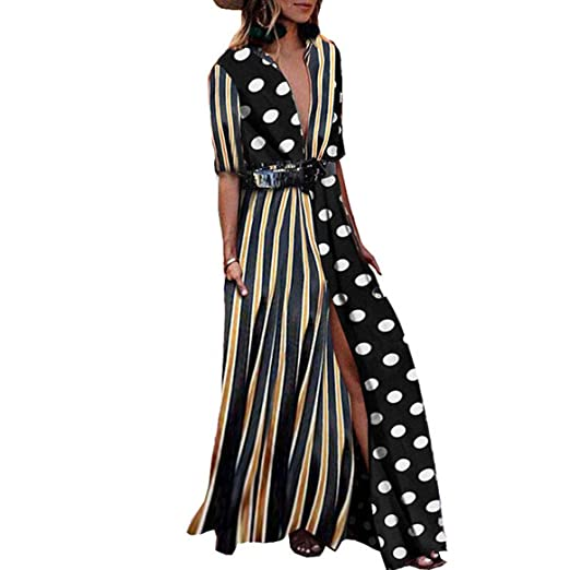 b2e20c18882 Womens V Neck Collar Roll up Sleeve Striped Polka Dot Long Maxi Dresses  with Pockets (