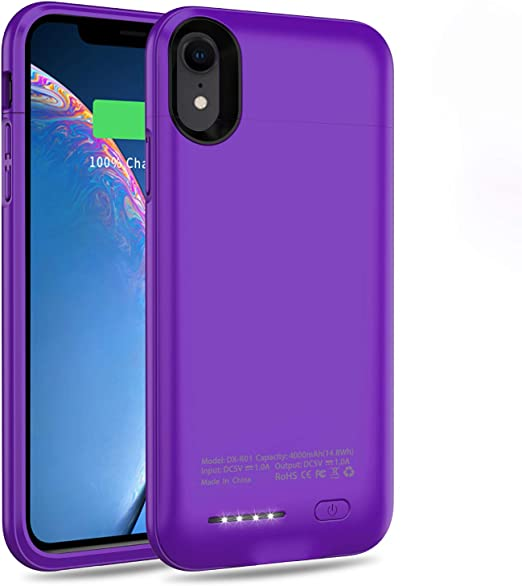 TAYUZH 4000mAh Ultra-Slim Protective Portable Charging Case Compatible for iPhone XR Magnetic Battery Case Rechargeable Power Bank Case Purple Support Wired Headphones Battery Case for iPhone XR