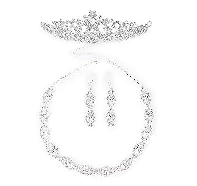 Amazoncom Bridal Wedding Necklace Earring Set Flower Crown
