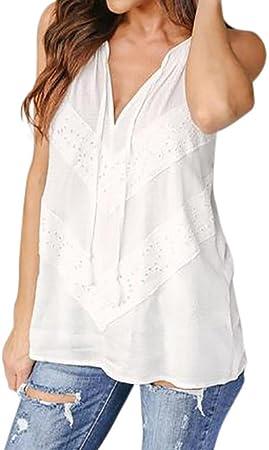 Camisa Sexy de Mujer Chaleco de Encaje de Mujer de Verano Camiseta sin Mangas Blusa Tops de Talla Grande (Blanco, S): Amazon.es: Hogar
