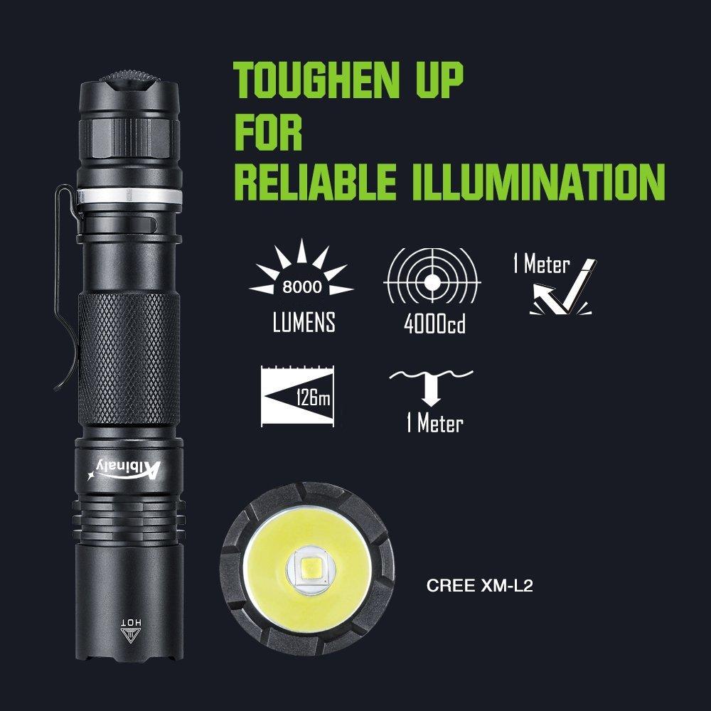 Amazon.com: G, CREE XM-L2 : Albinaly Ultra potente LED linterna táctica cree XM-L2 8000 lúmenes antorcha alimentado por batería recargable 18650: Home & ...