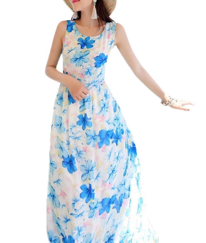 Bigood Ladies Boho Beach Classic Floral Back Cut Chiffon Maxi Dress