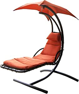 Prime Garden Deluxe Patio Hang Lounge Chair w/ Canopy Brick Red PG0022