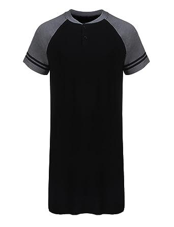 25cf47b895 Dicesnow Men s Comfort Sleepwear Short Sleeve Nightshirt Sleep Shirt