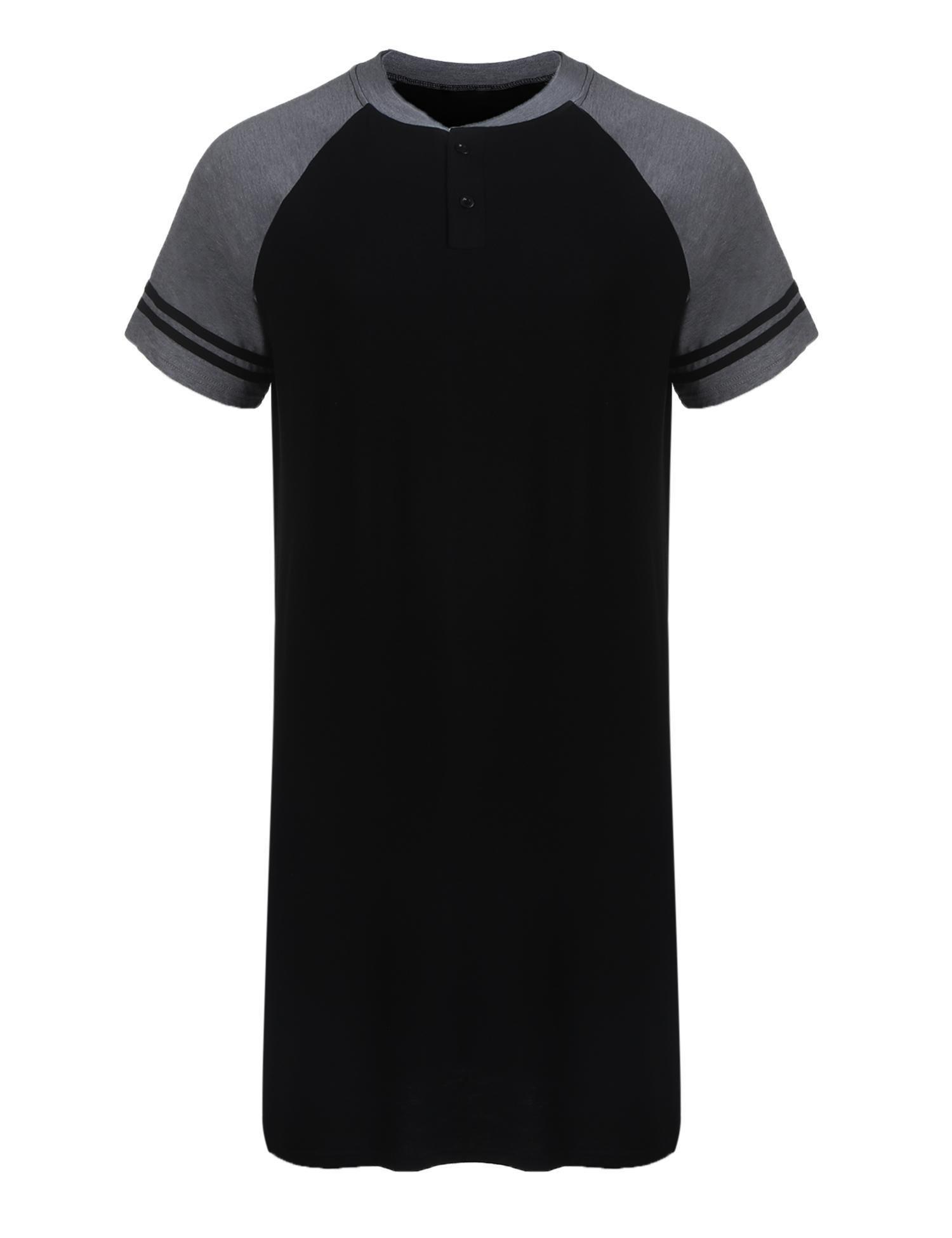 Troll Tree Men's Nightshirt Cotton Sleep Shirt Comfy Big&Tall Nightwear Short Sleeve Henley Sleepwear Kaftan Pajama S-XXXL