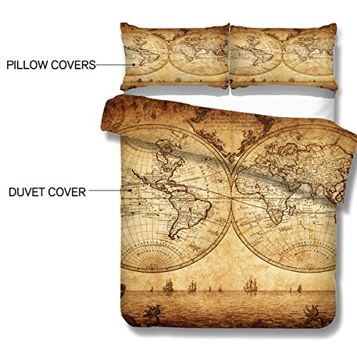 Arightex Vintage Map Bedding 3 Pieces Antique Medieval World Map Duvet  Cover for Young Adult Kids Travelers Bedclothes