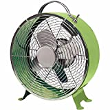 Comfort Zone 10 Inch Portable 4 Blade Quite Decorative Metal Drum Desk Fan, Green