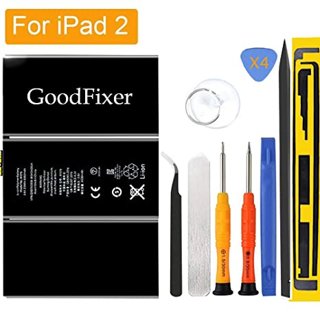 GoodFixer for Apple iPad 2 Battery Replacement with Complete Repair Tools  Kit, Adhesive Strip 0 Cycle - 6930mAh Li-ion Replacement Battery [365 Days