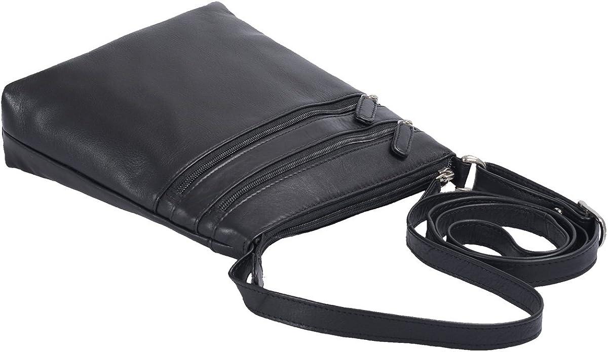 Tasche LOUANA in Echt-Leder 25x22x5,5cm Schwarz