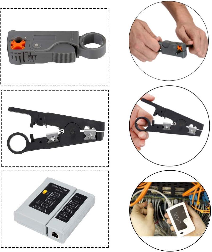 tester professionale per la manutenzione dei cavi LAN Lubein Kit di strumenti di crimpatura RJ45 per RJ11//RJ12//CAT5//CAT6//Cat5e