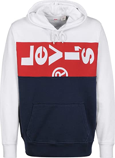 c13fa44a84a Levi's Oversized Panel Hoodie (White): Amazon.co.uk: Clothing