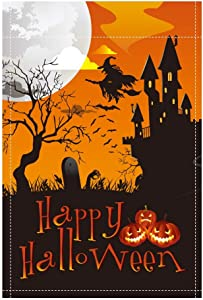 QSUM Halloween Garden Decorations Flag Without Stand,Double Sided Outdoor Yard Flag 18 x 12 inches Pumpkins Witch Moon Castle for Trick or Treat Party Outdoor Decorations