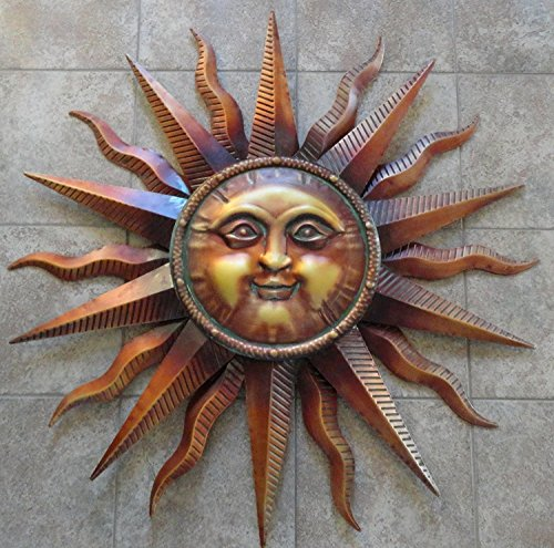 CHSGJY Vintage Copper Patina Sun Face Large Wall Hanging Metal Art Decor 38 inches Yard Sculpture Outdoor Living Face Copper Wall Sculpture