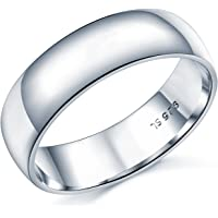 6mm D-Shape Heavy Weight Sterling Silver Wedding Band Ring In Sizes Complete With Gift Box