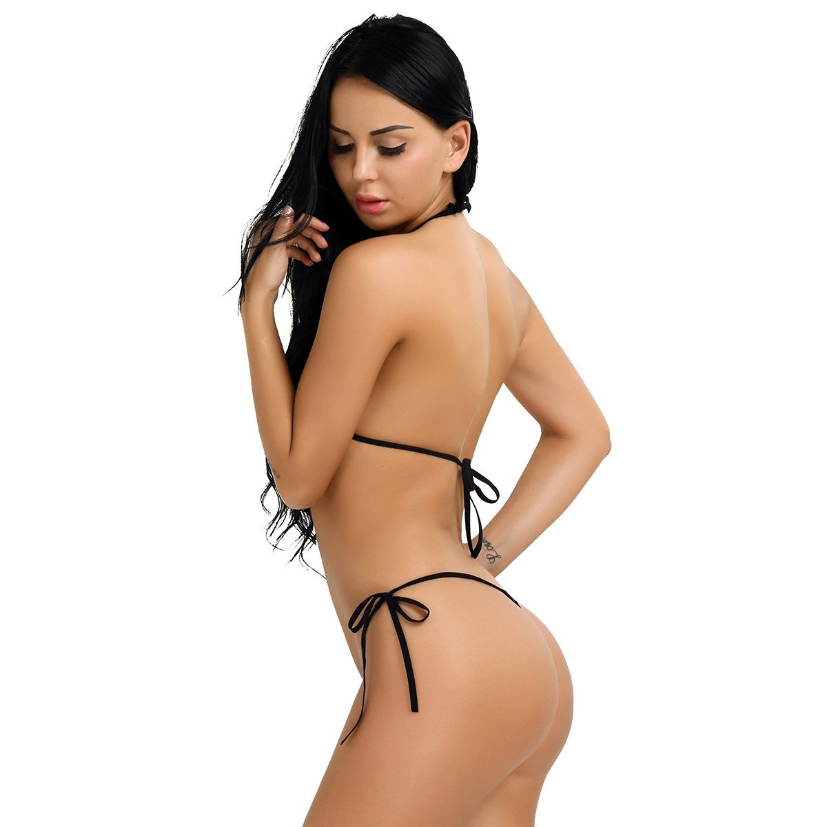 789264574211 Amazon.com  FEESHOW Women s Mini Bra Bikini 2pc Micro G-String Thong  Swimwear Beige One Size  Clothing