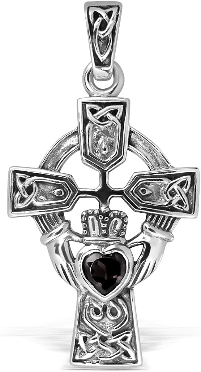 US Jewels And Gems Small 0.925 Sterling Silver Irish Celtic Knot Cross Genuine Citrine Pendant Necklace