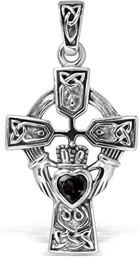 Heart Claddagh Pendant Simulated Amethyst .925 Sterling Silver Charm