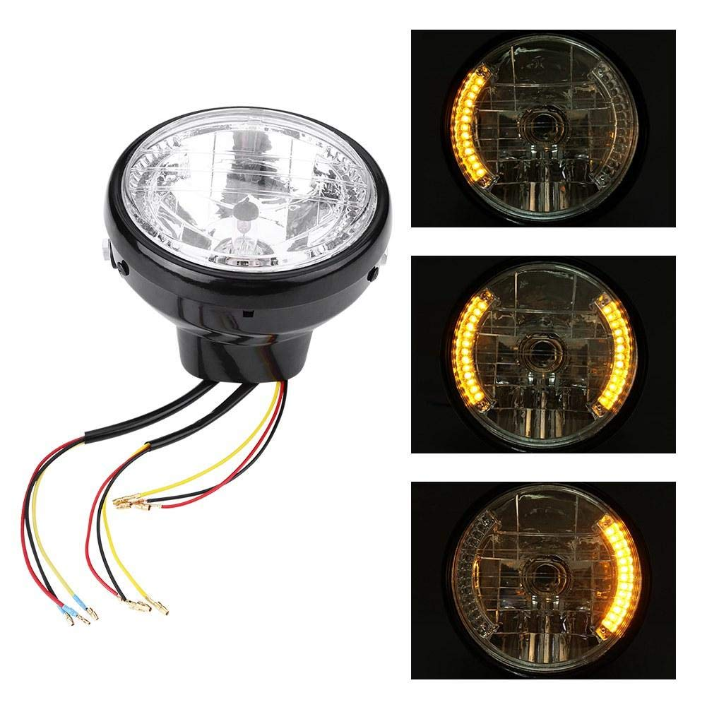 Universal High-brightness Long-term Use Motorbike Round Turn Signal Light Bulb with Mount Bracket and Installation Accessories Black Motorcycle Headlight with Bracket