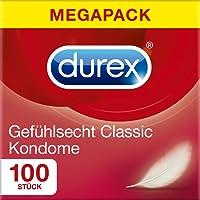 Durex Gefühlsecht Kondome – Hauchzarte Kondome für intensives Empfinden und innige Zweisamkeit – 100er Großpackung (1 x 100 Stück)