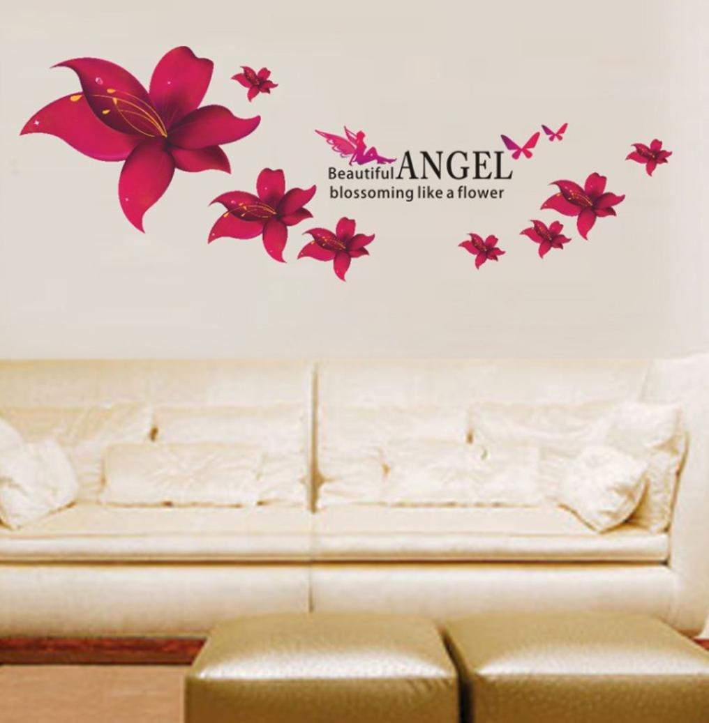 Bovake Rote Lilien-Blumen-Wand-Aufkleber entfernbares Abziehbild-Ausgangsdekor DIY-Kunst-Dekoration