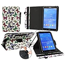 Emartbuy® Kobo Aura H20 6.8 Inch eReader Universal ( 7 - 8 Inch ) Multi Coloured Butterflies 360 Degree Rotating Stand Folio Wallet Case Cover + Black Stylus