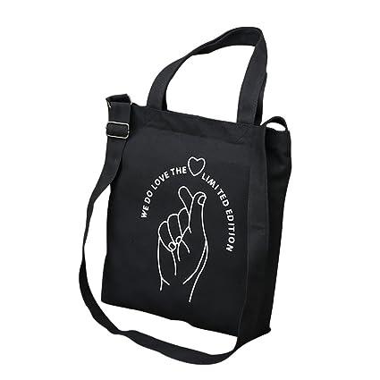 Fablcrew Bolsas de la Compra Reutilizables de Lona Bolso de Hombro Bolsa de Estudiante 32*38*4cm Negra Amor