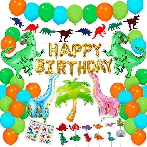 Dinosaur Birthday Parties - Dinosaur Party Supplies - 90 pcs for Birthday Decorations Dino Party Decorations for kids   dinosaur party favors Dinosaur party balloons Dinosaur Cake Topper jungle Latex Balloons with Pump tattoo