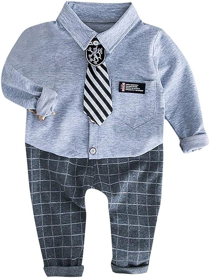 Mitlfuny Bebé Niñas Niño Gentleman Conjunto de Ropa Camisetas de Manga Larga Solapa Blusas Camisas para Niña Niños Primavera Verano Tops Cuadros Pantalones Corbata Trajes 3 Piezas 1-3 Años: Amazon.es: Ropa y