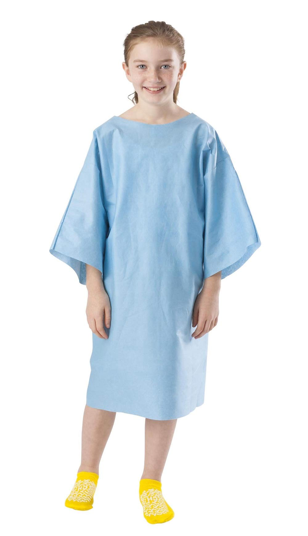 APQ Pack of 100 Disposable Exam Gowns, Pediatric, Multi-Layer, 9-12 years, Blue Patient Care Sleeveless Non Sterile Latex Free Clinics, Surgery, Lab Procedures. Single Use Multifunctional Wholesale