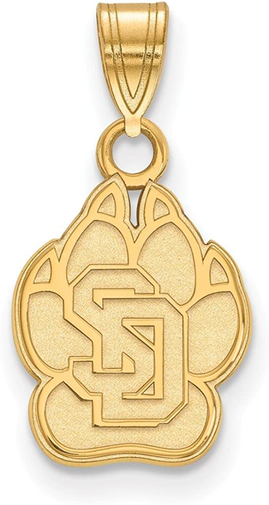 18mm x 10mm 925 Sterling Silver Yellow Gold-Plated Official University of South Dakota Small Pendant Charm