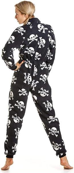 TALLA 41924. Camille - Pijama Polar de una Pieza con Capucha para Mujer - Estampado de Calaveras Piratas