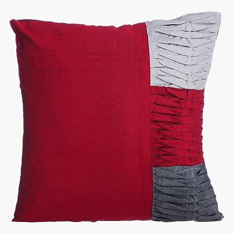rojo fundas para cojines de sofa, Con textura alforzas Bloqueo de color fundas de almohadones, 60x60 cm fundas de almohadas, seda fundas de cojines, ...
