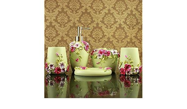 BL Romántico Señor Casa Verde cuarto de baño Ideas Europea Aristokraten Juego Resina con cinco pieza protectora: Amazon.es: Hogar