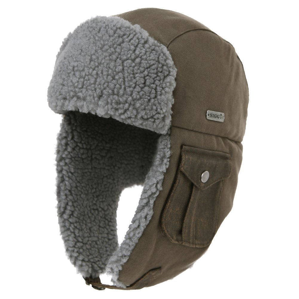 3e047ea50 SIGGI Cotton Trapper Hat Faux Fur Earflaps Hunting Hat Warm Pillow Lining  Unisex