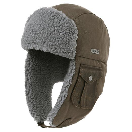 36cc3e3d330 SIGGI Mens Cotton Trapper Hat Faux Fur Aviator Hat with Ear Flaps Women  Russian Winter Cold
