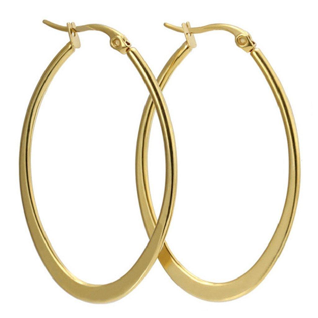 UM Jewelry Womens Stainless Steel Large Hoop Earrings 880081-Silver & CA