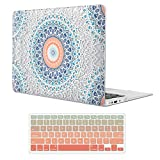 iCasso MacBook Air 13 inch Rubber Coated Soft Touch Hard Shell Protective Case Cover for MacBook Air 13 Inch Model A1369/A1466 with Keyboard Cover (Mandala&Lace)