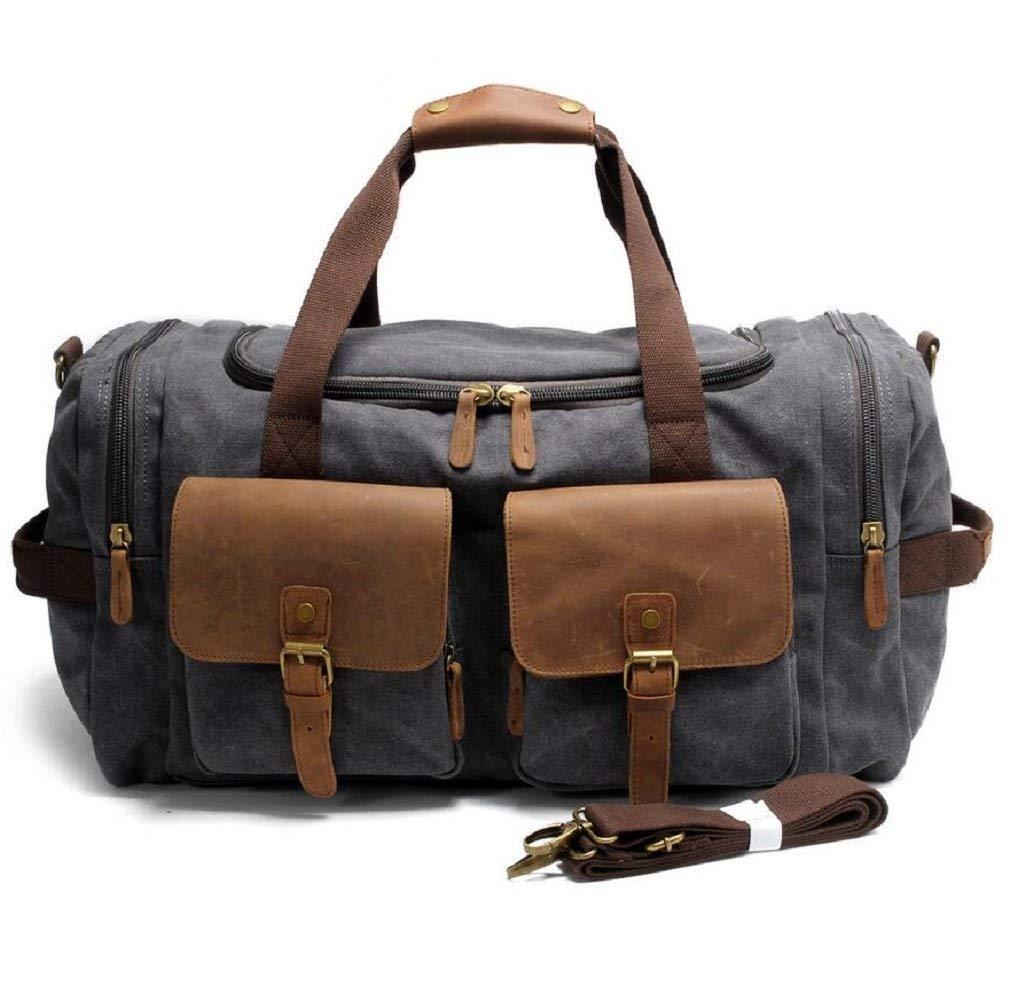GZZ Outdoor Rucksack Outdoor 36-55L Kapazität Gepäck Tasche Leinwand Schulter Messenger Bag Handtasche, mit Zwei Taschen, Langlebig Verschleiß Anti-Scratch Handtasche