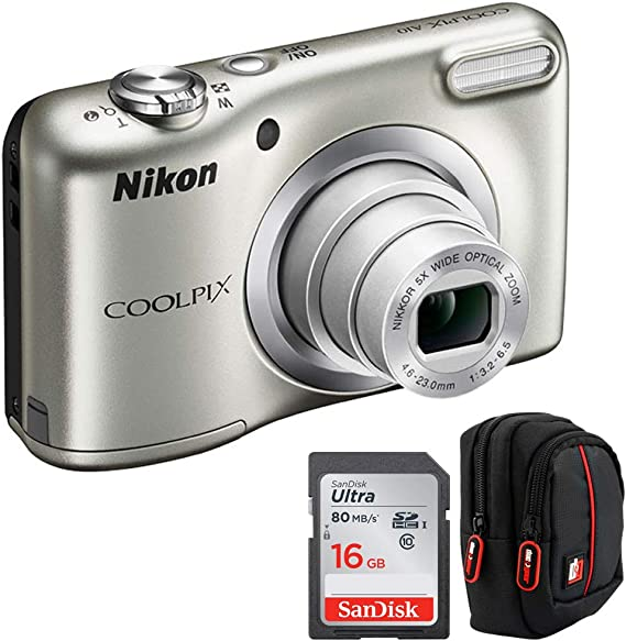 Nikon 26518B COOLPIX A10 16.1MP 5X Zoom NIKKOR Glass Lens Digital Camera Silver (Renewed) Bundle with Sandisk Ultra SDHC 16GB UHS Class 10 Memory Card