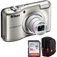 Nikon 26518B COOLPIX A10 16.1MP 5X Zoom NIKKOR Glass Lens Digital Camera Silver (Renewed) Bundle with Sandisk Ultra SDHC 16GB UHS Class 10 Memory Card, Deco Gear Camera Case (Black/Red)