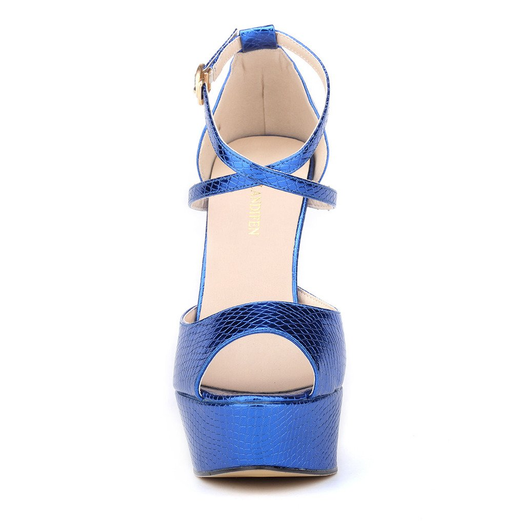 9953408fe06 ZriEy Women Sandals 14CM / 5.5 inches High-Heeled Peep Toe Platform Party  Sandals for Wedding Working Shoes Double Color